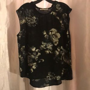 Sleeveless Floral Black Sheer Top